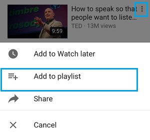Add to Playlist Option on YouTube