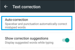 Auto Correction option on Google Keyboard
