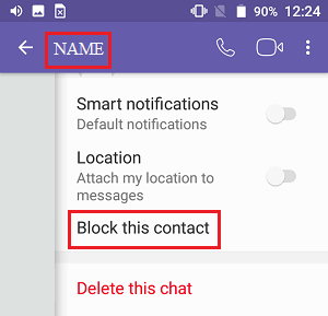 Block This Contact Tab on Viber in Android Phone
