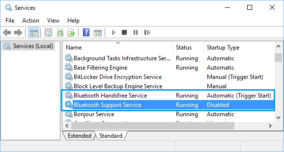 Bluetooth Support Service in Windows 10