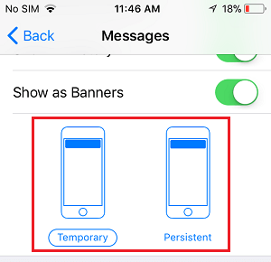 Choose Temporary or Persistent Notifications on iPhone