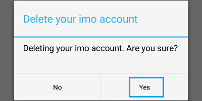 Confirm Delete imo Account Pop-up on Android Phone
