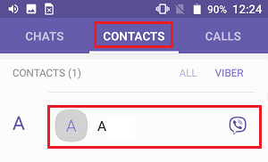 Contacts Tab in Viber on Android Phone