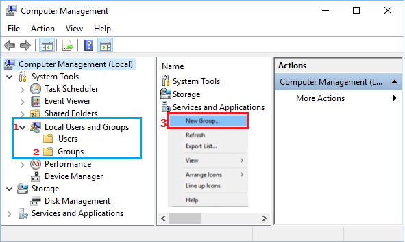 Create New User Group in Windows 10