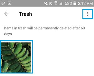 Deleted Photo in Trash Bin on Android Phone