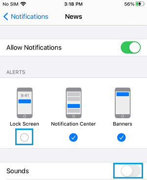 Disable Lock Screen Notifications and Sound on iPhone News App