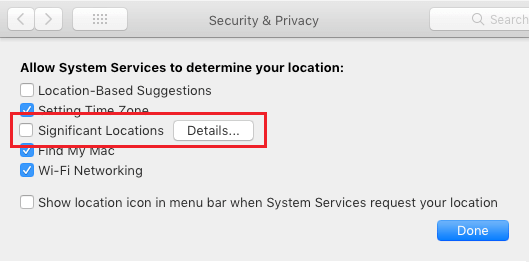 View Details and Disable Significant Locations Service on Mac