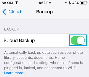 Enable iCloud Backups on iPhone