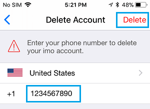 Enter Phone Number to Delete imo Account on iPhone