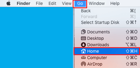 Home Option in Finder Go Menu on Mac