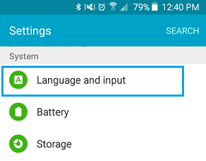 Language and Input option in Settings Screen On Android Phone