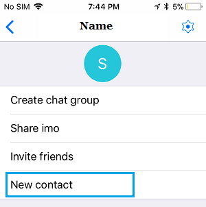 New Contact Option in imo on iPhone