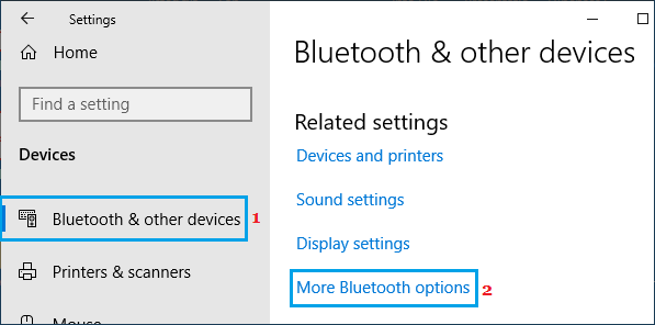 Open More Bluetooth Option On Windows Computer