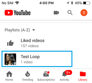 List of Playlists in YouTube App on iPhone