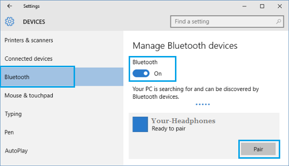 Enable Bluetooth Option in Windows 10