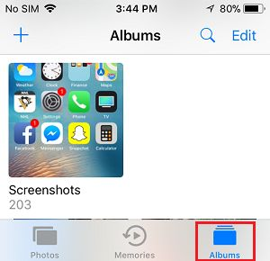 Screenshots Album on iPhone