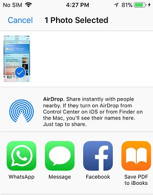 Share Screenshot using AirDrop and other Apps on iPhone