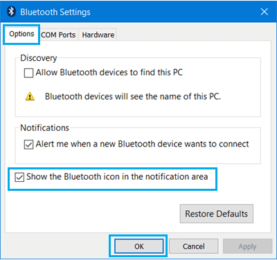 Allow Bluetooth devices to find this PC Option in Windows 10