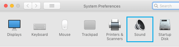 Sound Option in System Preferences Screen on Mac