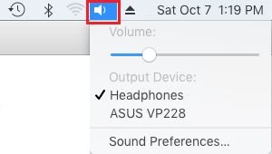 Sound Icon in Top Menu Bar on Mac