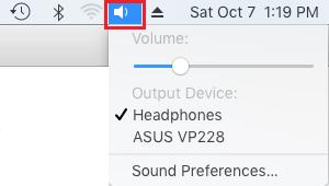 Sound Icon in Top Menu Bar on Mac