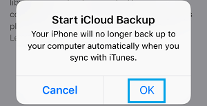 Start iCloud Backup Pop-up on iPhone