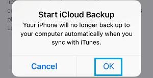Start iCloud Backup Pop-up on iPhone