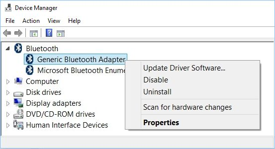 Update Bluetooth Driver in Windows 10