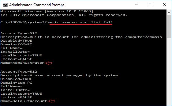 wmic useraccount list full Command in Windows 10