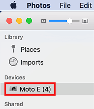 Android Phone in Mac Photos App Side Menu
