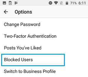 Blocked Users Option in Instagram