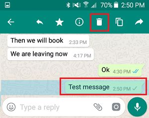 Delete Sent Message in WhatsApp on Android Phone