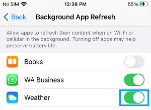 Enable Background App Refresh For Weather App