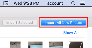 Import All New Photos Button in Mac Photos App