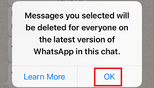 Confirm to Delete Message in WhatsApp