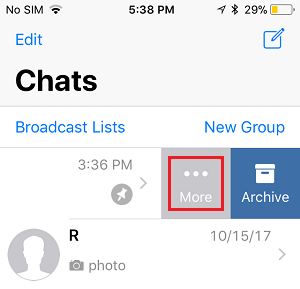 More Option in WhatsApp Chats screen on iPhone