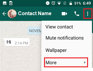 More Option in WhatsApp on Android Phone