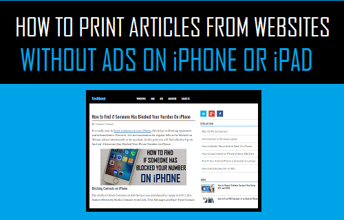 Print Articles From Websites Without Ads On iPhone or iPad