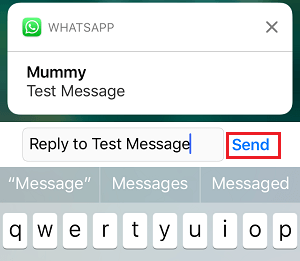 Reply to WhatsApp Message From Notification on iPhone
