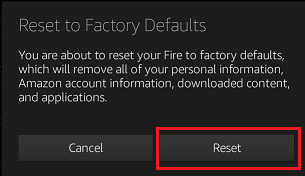 Reset Kindle Fire Pop-up