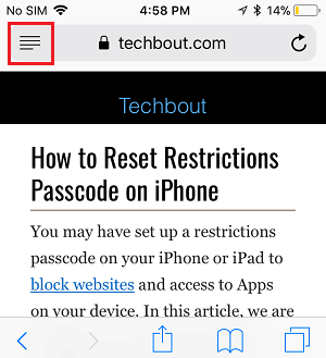 Safari Reader Mode Button on iPhone