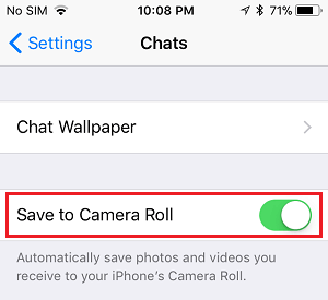 Save to Camera Roll Option in WhatsApp on iPhone