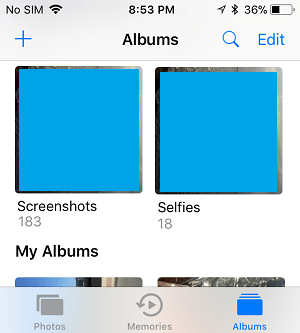 Photos Albums in iPhone Photos App