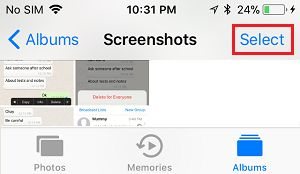 Select Screenshots to Delete on iPhone