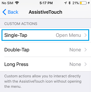 Single-Tap option in AssistiveTouch Screen on iPhone