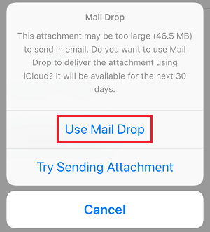 Use Mail Drop Pop-up on iPhone