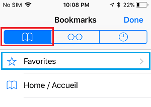 Bookmark Tab and Favorites option in Safari Browser on iPhone