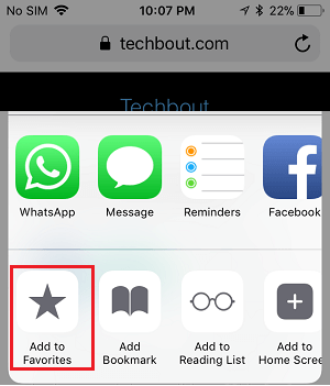 Add to Favorites option in Share Menu on iPhone