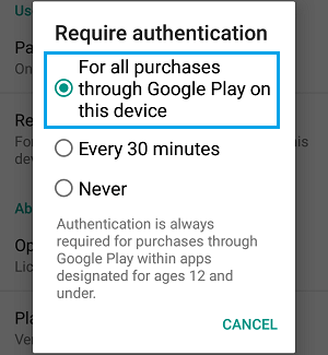 Require Authentication For Purchases Settings Screen in Google Play Store on Android