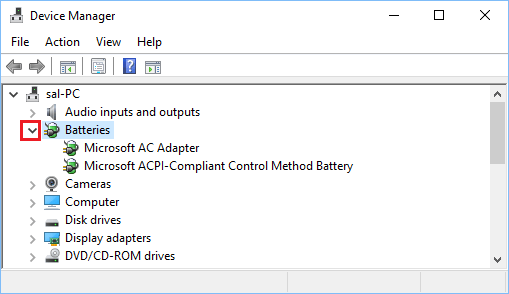 Batteries Tab in Device Manager Screen on Windows 10